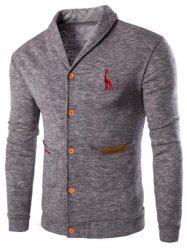 Casual Solid Color Cardigan For Men - LIGHT GRAY