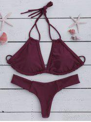 Attractive Halter Wine Red Bikini Set For Women