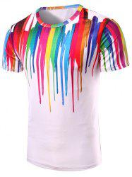 3D Colorful Vertical Splatter Paint T-Shirt -