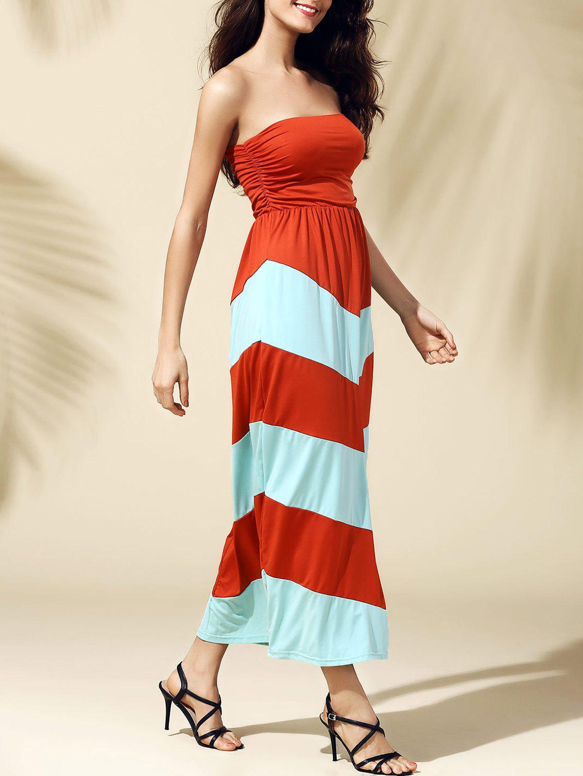 [ 75% OFF ] 2019 Bandeau Stripe Tube Top Strapless Maxi ...