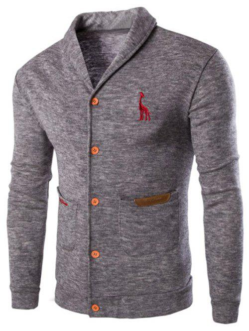 Casual Solid Color Cardigan For MenMEN<br><br>Size: M; Color: LIGHT GRAY; Type: Cardigans; Material: Cotton Blends,Polyester; Sleeve Length: Full; Collar: Turn-down Collar; Style: Casual; Weight: 0.337kg; Package Contents: 1 x Cardigan;