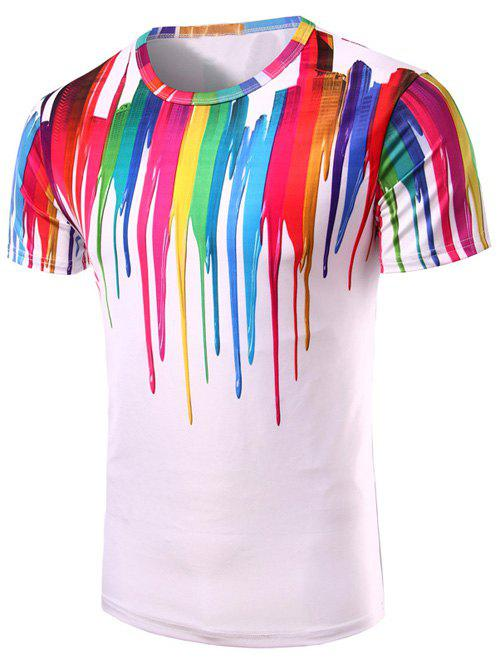 Fashion 3D Colorful Vertical Splatter Paint T-Shirt