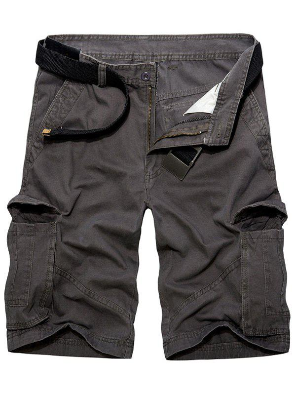 Casual Loose Fit Multi-Pockets Solid Color Cargo Shorts For Men от Rosegal.com INT