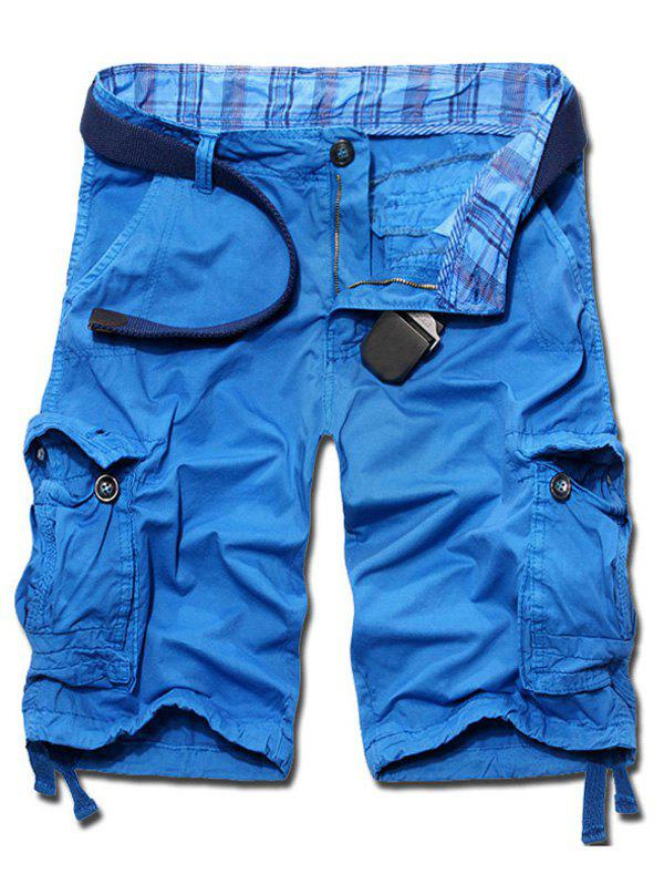 Store Casual Loose Fit Solid Color Cargo Shorts For Men