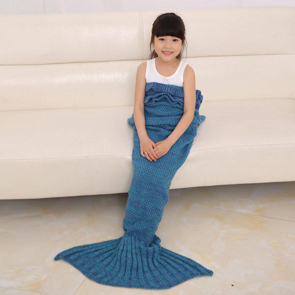 Store Flouncing Sleeping Bag Mermaid Design Knitted Blanket and Throws For Kids