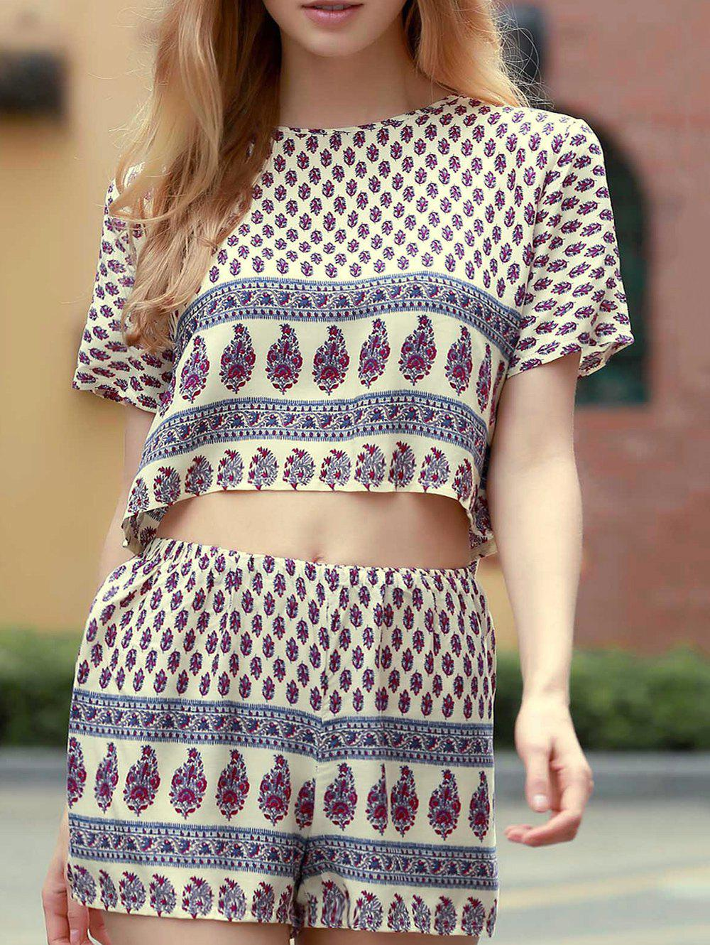 Affordable Short Sleeve Printed Cropped T-Shirt and Shorts Twinset For Women