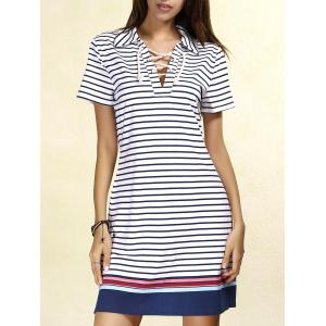 Polo Striped Lace-up T-shirt Casual Dress - Stripe - S