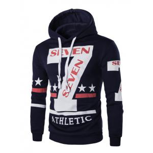 Fashion Hooded Letters Star Stripes Print Long Sleeves Hoodie For Men - Cadetblue - Xl
