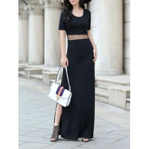 Maxi Short Sleeve Gauze Panel Slit Cocktail Dress