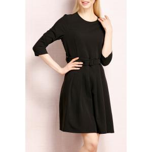 Simple Style A Line Belted Dress -