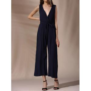 Fashionable Plunging Neck Tie Belt Wide Leg Jumpsuit For Women