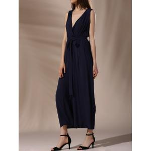 Fashionable Plunging Neck Tie Belt Wide Leg Jumpsuit For Women -