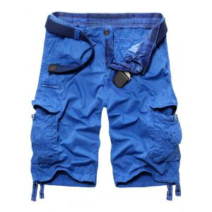 Trendy Men's Loose Fit Multi-Pockets Cargo Shorts - Azure - 30