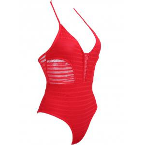 Halter Open Back See Thru Swimwear - RED S