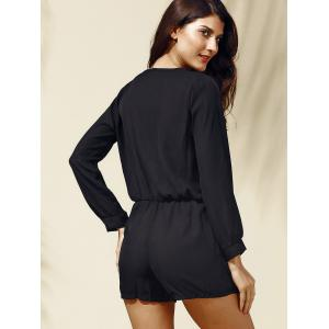 Alluring Long Sleeves Plunging Neck Solid Color Romper For Women -