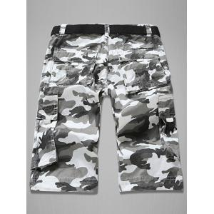 Trendy Loose Fit Men's Multi-Pockets Camo Printed Cargo Shorts - WHITE 30