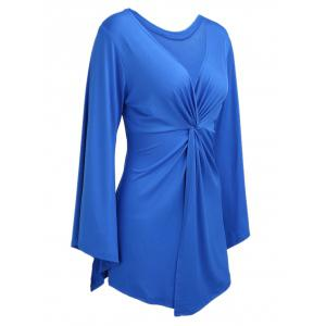 Knotted Flare Sleeve Tunic Top - BLUE L