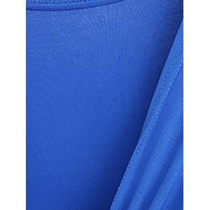 Knotted Flare Sleeve Tunic Top - BLUE 3XL