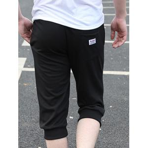 Casual Loose Fit Lace Up Solid Color Shorts For Men - BLACK L