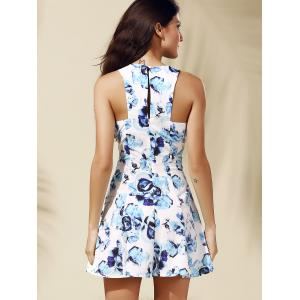 Casual Round Collar Floral Print Sleeveless Women's Dress -