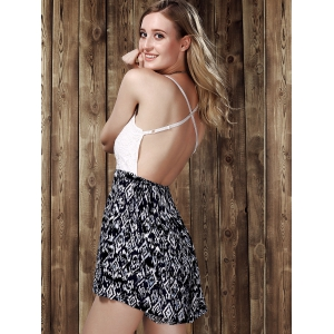 Stylish Strappy Lace Panelled Backless Romper For Women -