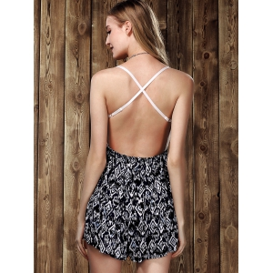 Stylish Strappy Lace Panelled Backless Romper For Women - WHITE/BLACK M