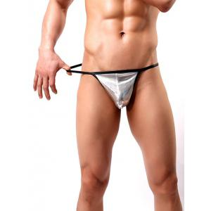 Low Waist Satin Non Trace Thongs For Men - SILVER L