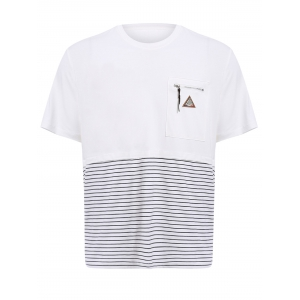 Vogue Round Neck Zipper Color Block Stripes Spliced Short Sleeves T-Shirt For Men - White - 2xl