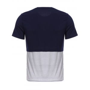 Vogue Round Neck Zipper Color Block Stripes Spliced Short Sleeves T-Shirt For Men - CADETBLUE M
