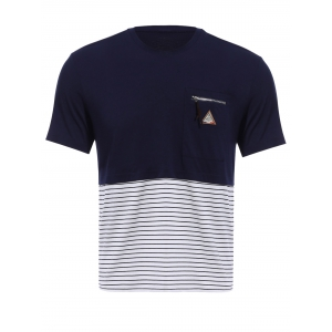 Vogue Round Neck Zipper Color Block Stripes Spliced Short Sleeves T-Shirt For Men