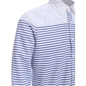 Refreshing Turn-down Collar Color Block Long Sleeves Striped Shirt For Men -