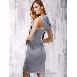 Stylish Hooded Cross Back Cut Out Dress For Women -