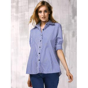 Brief Shirt Collar Long Sleeve Vertical Striped Women's Shirt - BLUE L