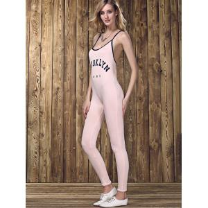 Stylish Strappy Backless Letter Print Jumpsuit  For Women -
