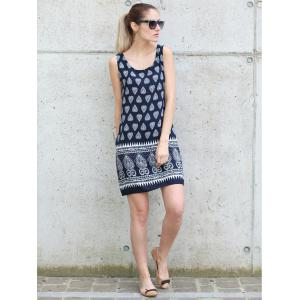 Scoop Neck Tribal Print Sleeveless Dress For Women -