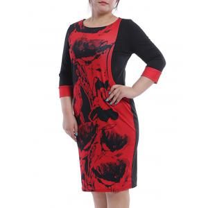 Casual Plus Size Jewel Neck Printed 3/4 Sleeve Shift Dress For Women
