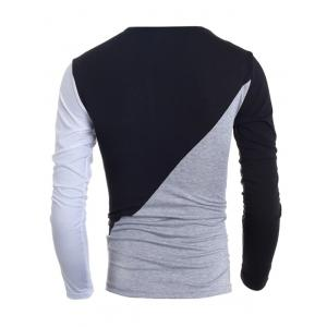 Fashionable Round Neck Classic Color Splicing Slimming Long Sleeves Men's T-Shirt -
