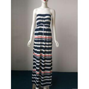 Stripe Drawstring Casual Bandeau Maxi Dress - Black - L