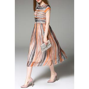 Striped Single-Breasted Dress -