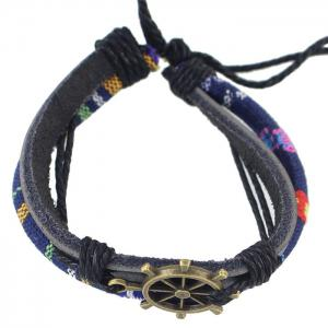 Multilayer PU Leather Rudder Bracelet - BLUE