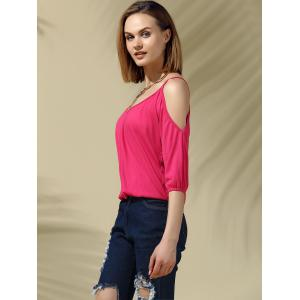 Glamourous Plunging Neck Cold Shoulder 3/4 Sleeves Blouse For Women -