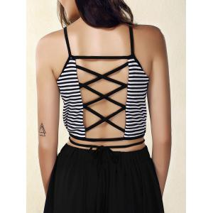 Criss Cross Striped Strappy Crop Top - WHITE AND BLACK M