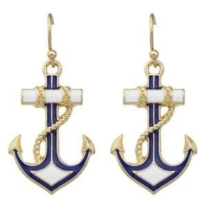 Pair of Retro Anchor Drop Earrings