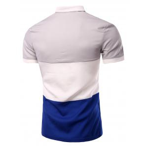 Stylish Stripes Turn-down Collar Color Block  Short Sleeves Polo T-Shirt For Men -
