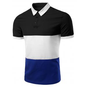 Stylish Stripes Turn-down Collar Color Block  Short Sleeves Polo T-Shirt For Men - Black - 3xl