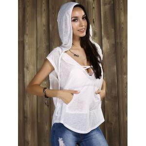 Sexy Hooded Cowl-back Tunics For Women - WHITE XL