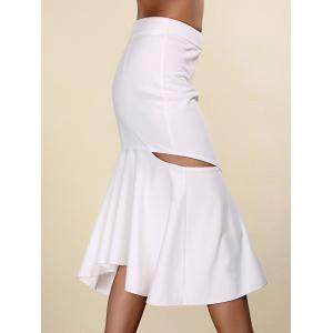 Women's Stylish Pure Color Mermaid Cut Out Skirt - WHITE S