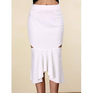 Women's Stylish Pure Color Mermaid Cut Out Skirt - White - M