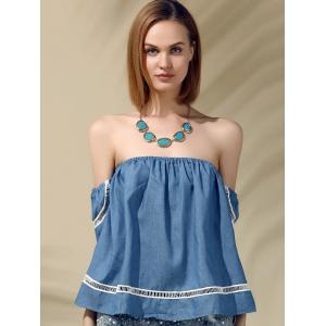 Attractive Off-The-Shoulder Short Sleeves Denim Blouse For Women -