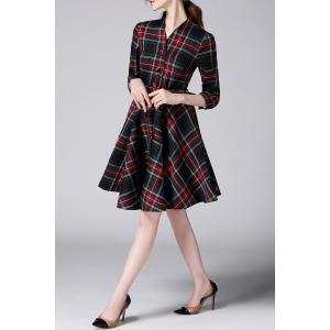 Checked Single-Breasted Belted Shirt Dress -